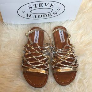 Steve Madden Mistling girls gold and silver sandal
